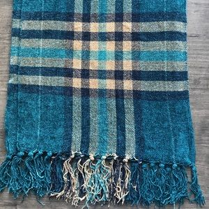 Chenille blue plaid scarf with fringes unisex
